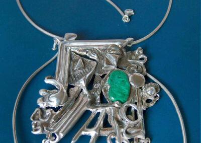 collier argento e giada